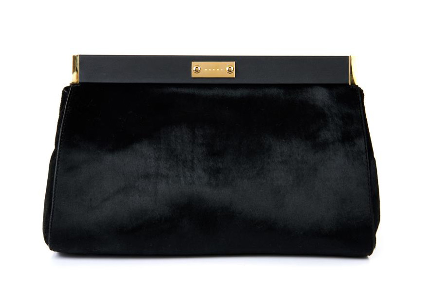 Marni Calf Hair and Leather Clutch