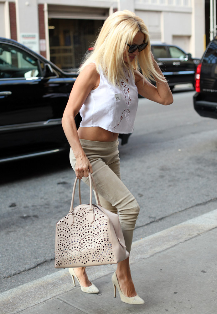 Pamela Anderson Alaia Laser-Cut Satchel-4
