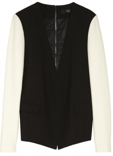 Tibi Anson Two-tone Stretch-crepe Blazer