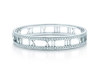 Tiffany and Co. Atlas Bangle in White Gold and Diamonds