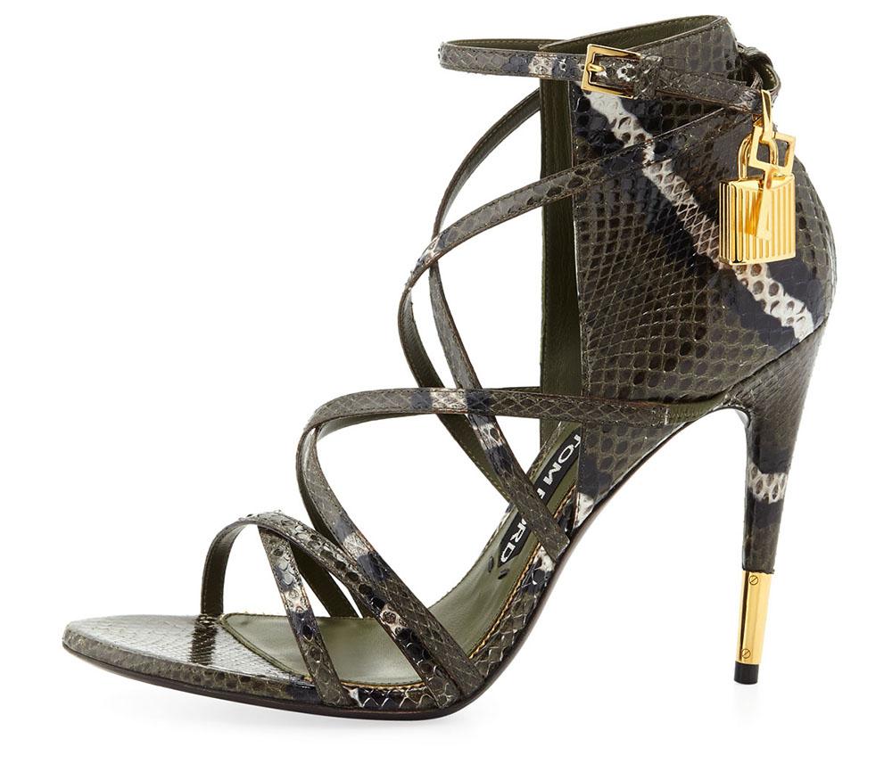 Tom Ford Padlock Ankle-Wrap Snake Sandal