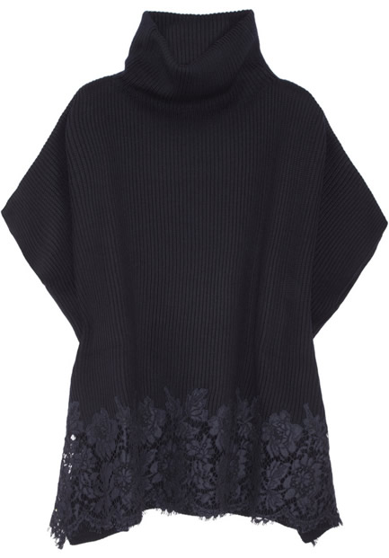 Valentino Lace-trimmed Ribbed-knit Wool Cape