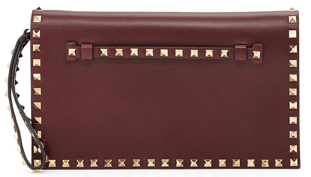Valentino Rockstud Leather Flap-Top Clutch Bag