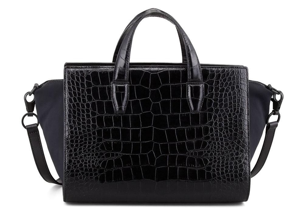 Alexander Wang Pelican Crocodile-Embossed Satchel Bag