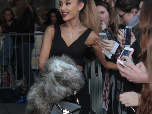 Ariana Grande Does the London Press Rounds with Rebecca Minkoff Bag in Tow