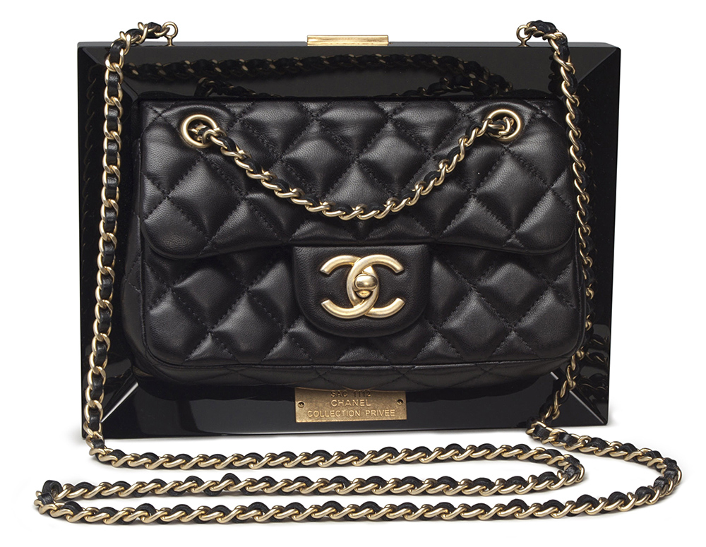 Chanel Limited Edition Black Lucite & Lambskin Leather Frame Bag