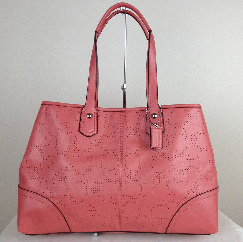 Coach Perforated Leather Carryall Tote