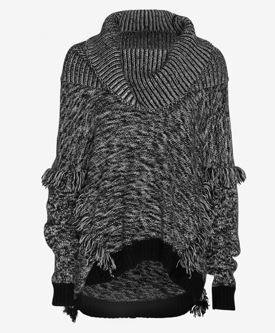 Exclusive for Intermix Fringe Detail Marled Turtleneck