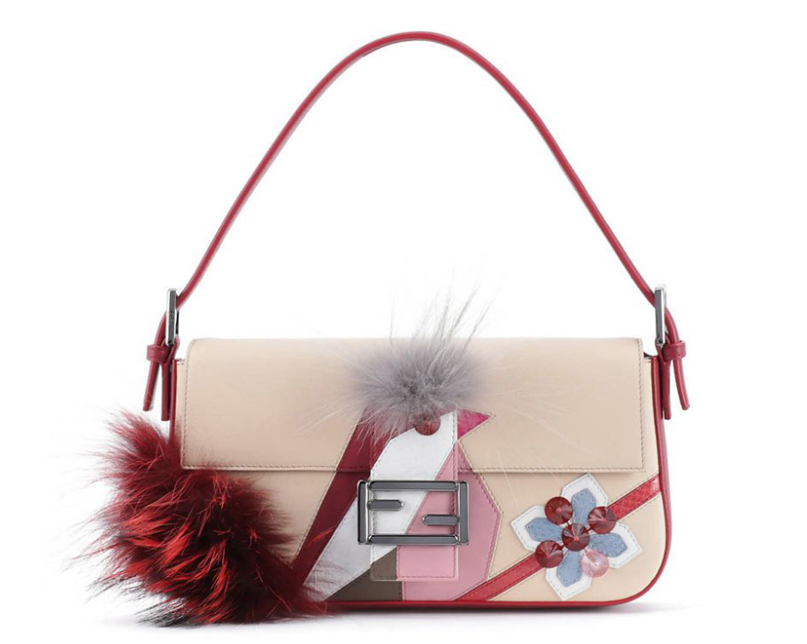 Fendi Fur-Trimmed Bird Baguette