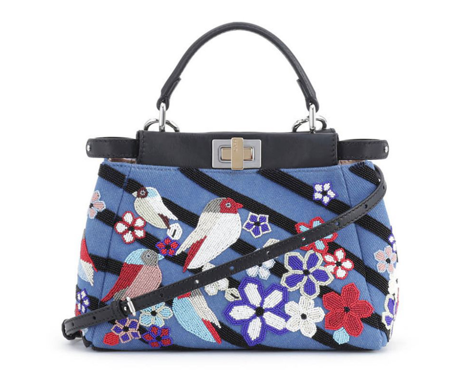 Fendi Peekaboo Mini Denim Satchel