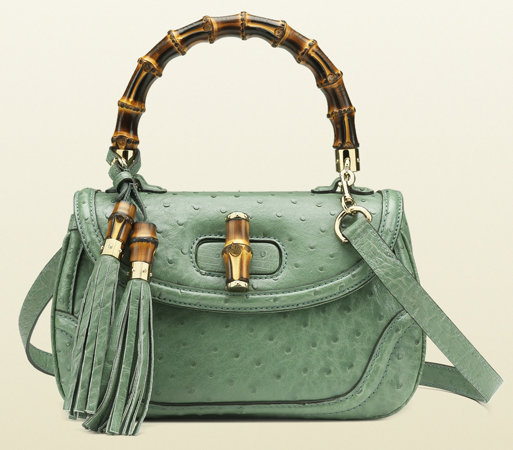 Gucci Bamboo Ostrich Top Handle Bag
