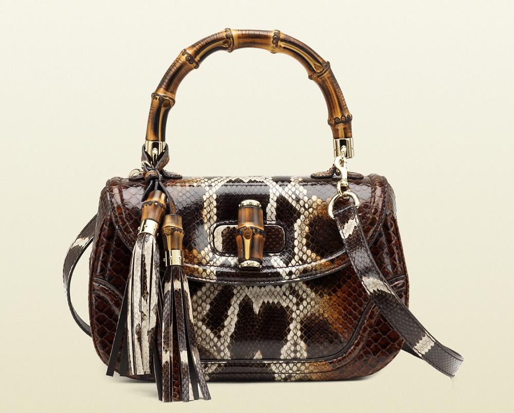 Gucci Python Bamboo Top Handle Bag