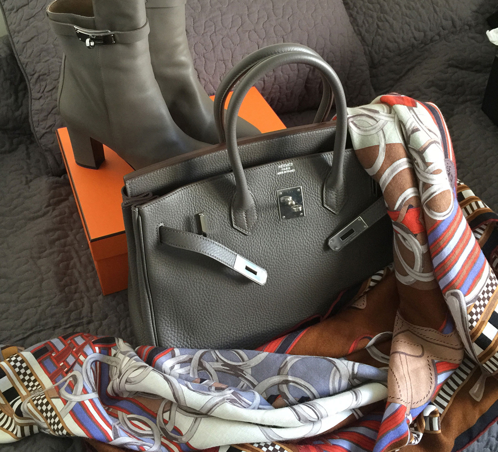 Hermes Birkin Boots and Scarf