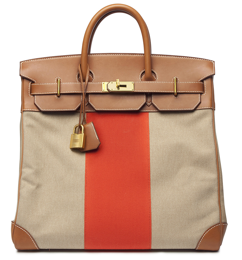 Hermes Limited Edition Leather and Canvas HAC Birkin Bag