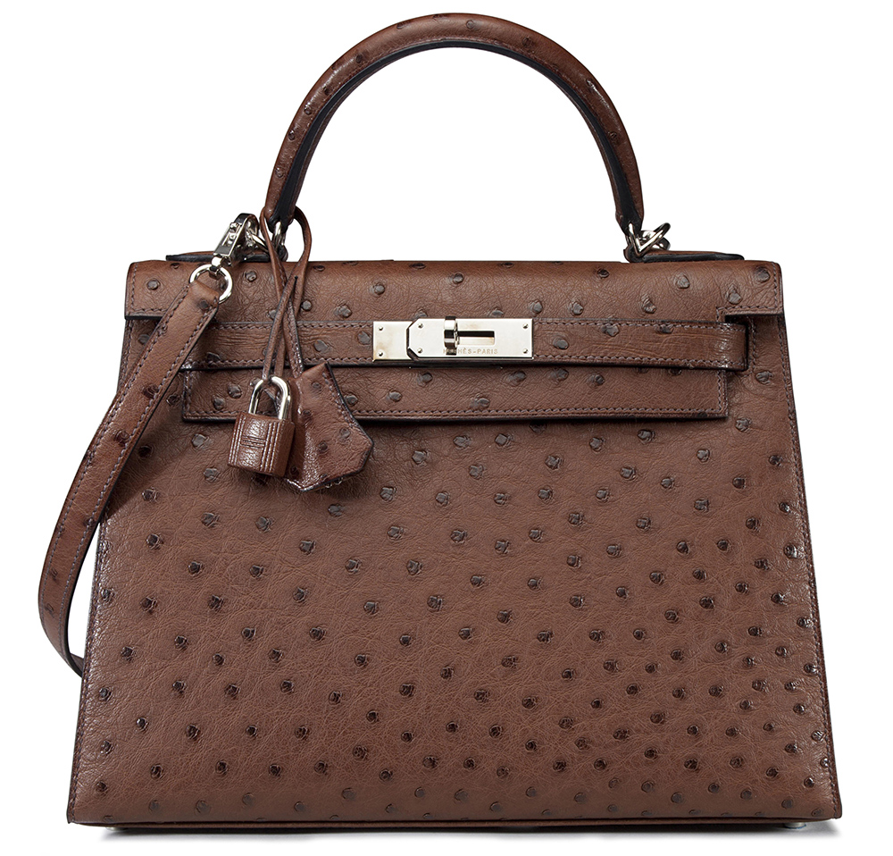 Hermes Marron Fonce Ostrich Kelly Bag