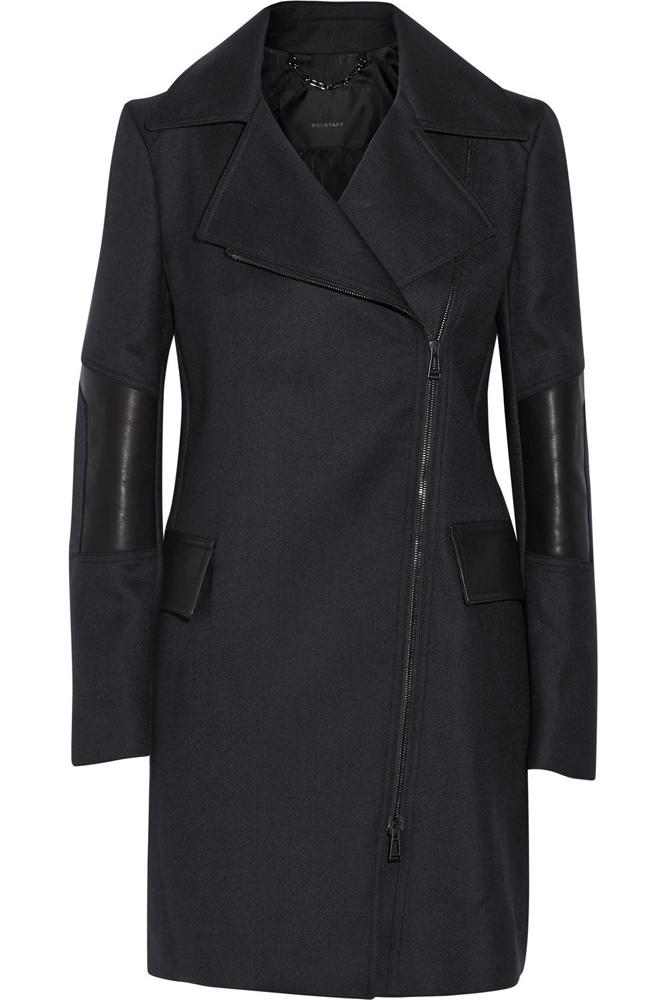Belstaff Paxford Leaather-Paneled Wool Gabardine Coat