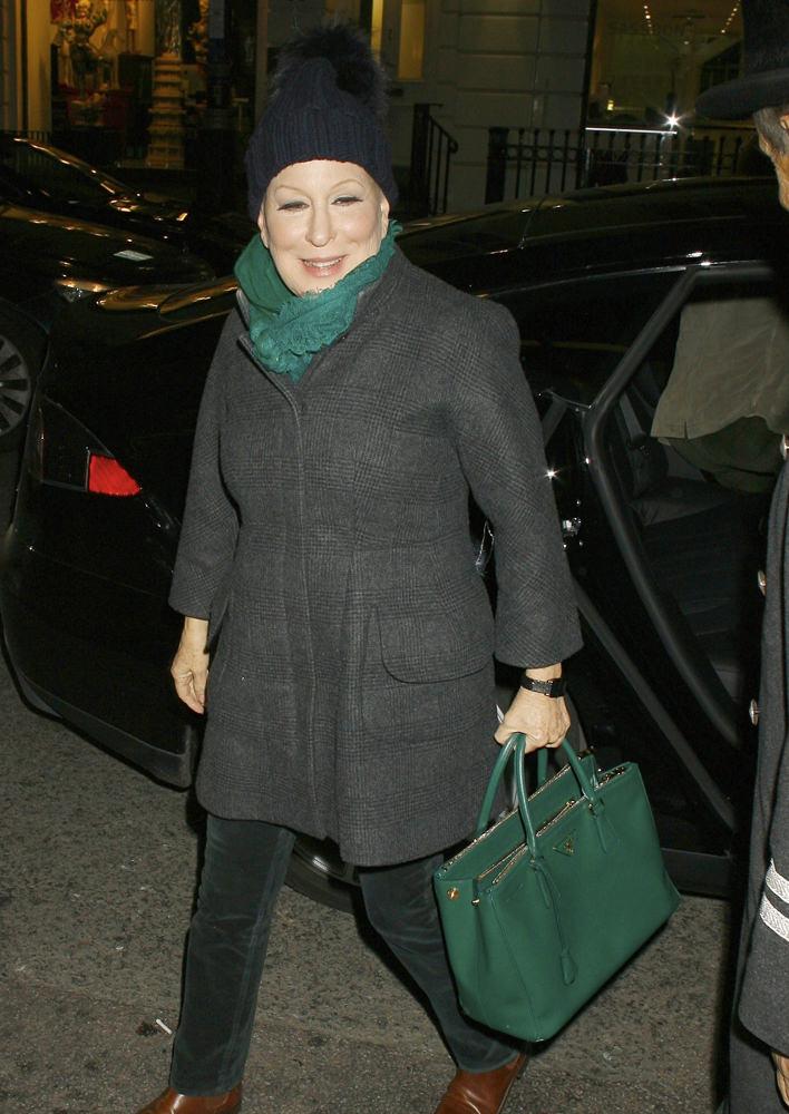 Bette Midler arrives back at Claridges Hotel in London, England after filming the 'Graham Norton Show'