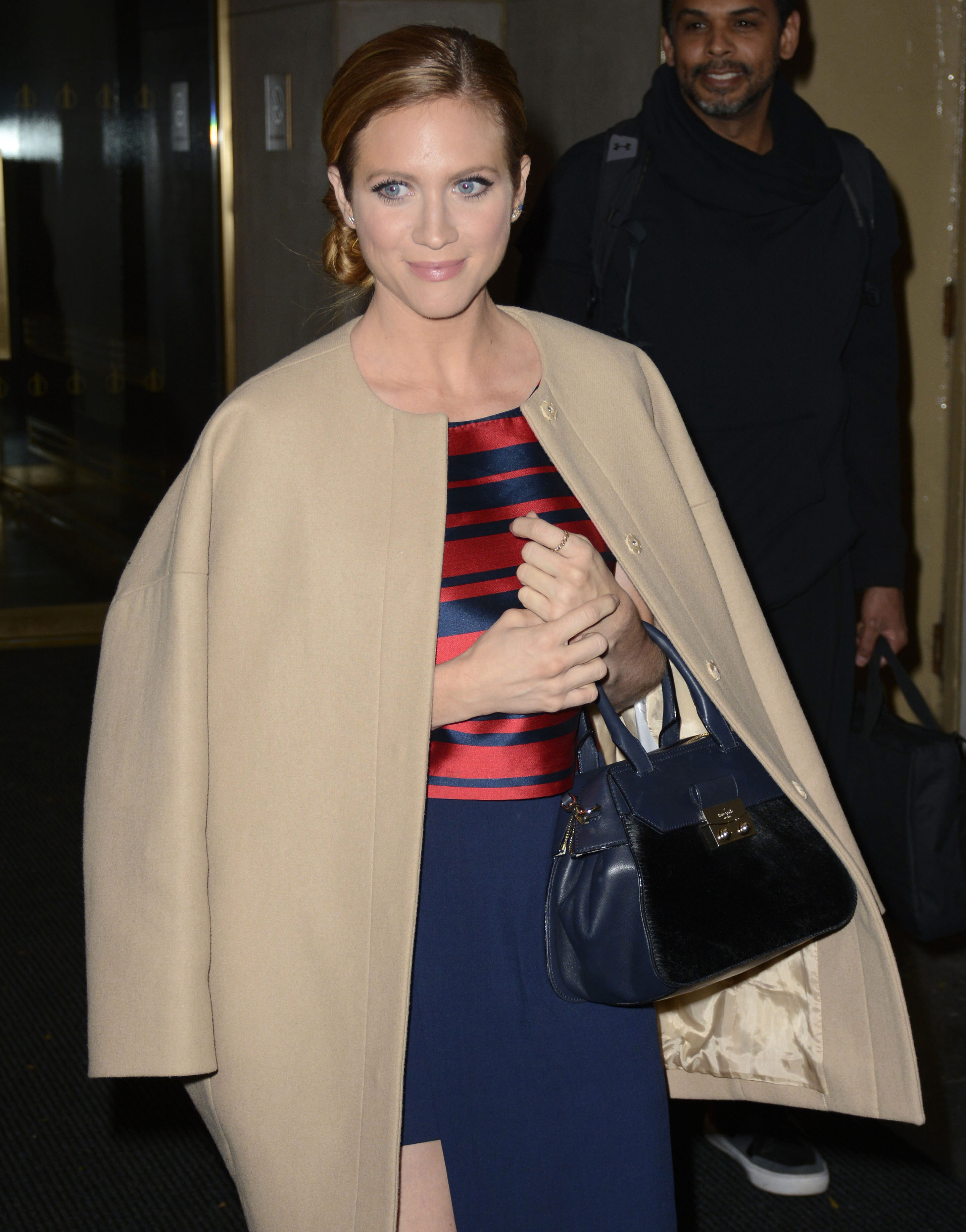 Brittany Snow enters and exits the 'Today' Show studios, NYC