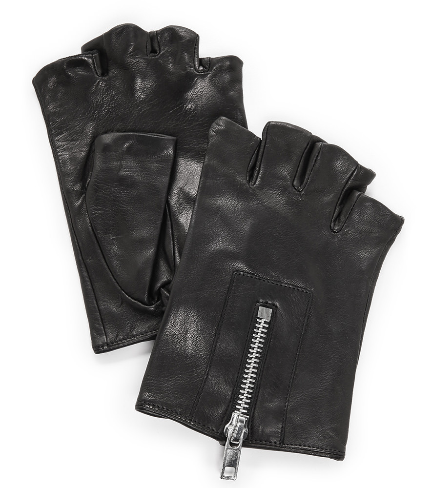 Carolina Amato Zipper Fingerless Gloves