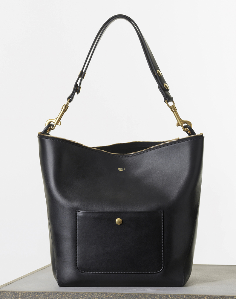 Celine Medium Zipped Hobo Black Natural Calf 2550