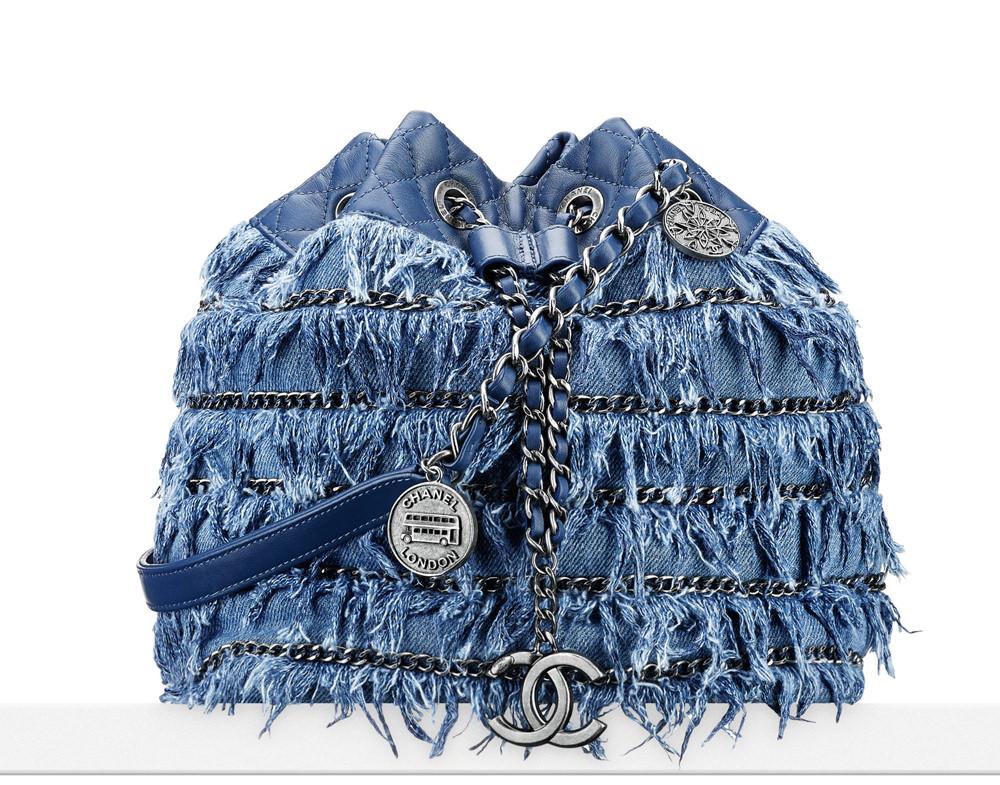 Chanel Denim Fringe Drawstring Bag 6300