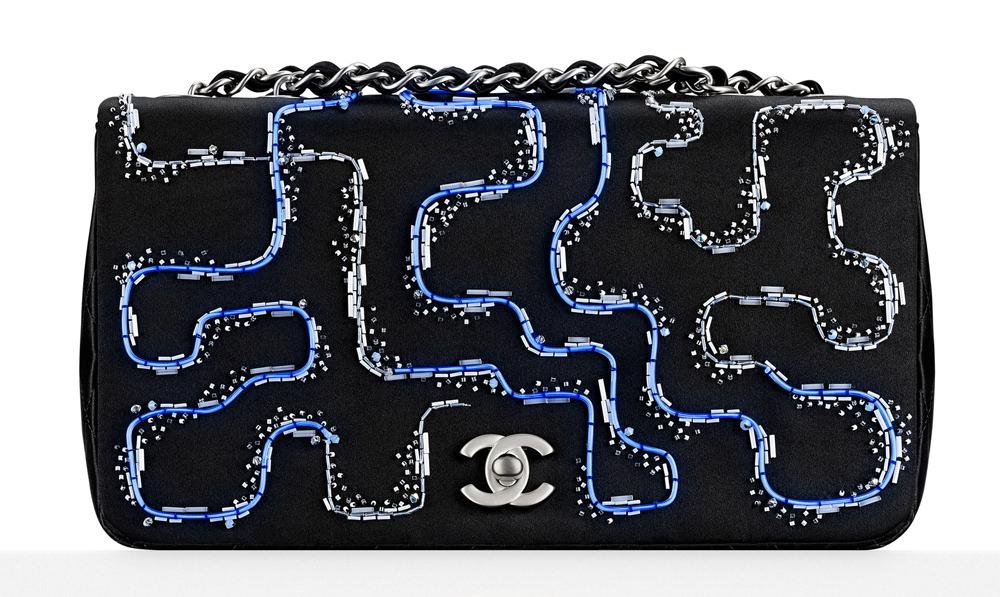 Chanel Embroidered Satchel Flap Bag