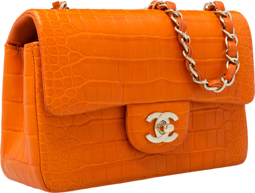 Chanel Matte Orange Crocodile Flap Bag with Gold Hardware