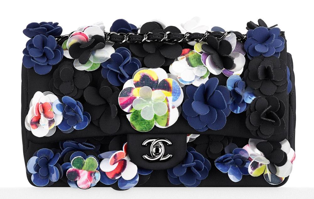 Chanel Multicolor Neoprene Flower Flap Bag