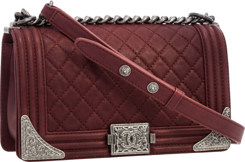 Chanel Paris-Dallas Collection Burgundy Quilted Leather Boy Bag
