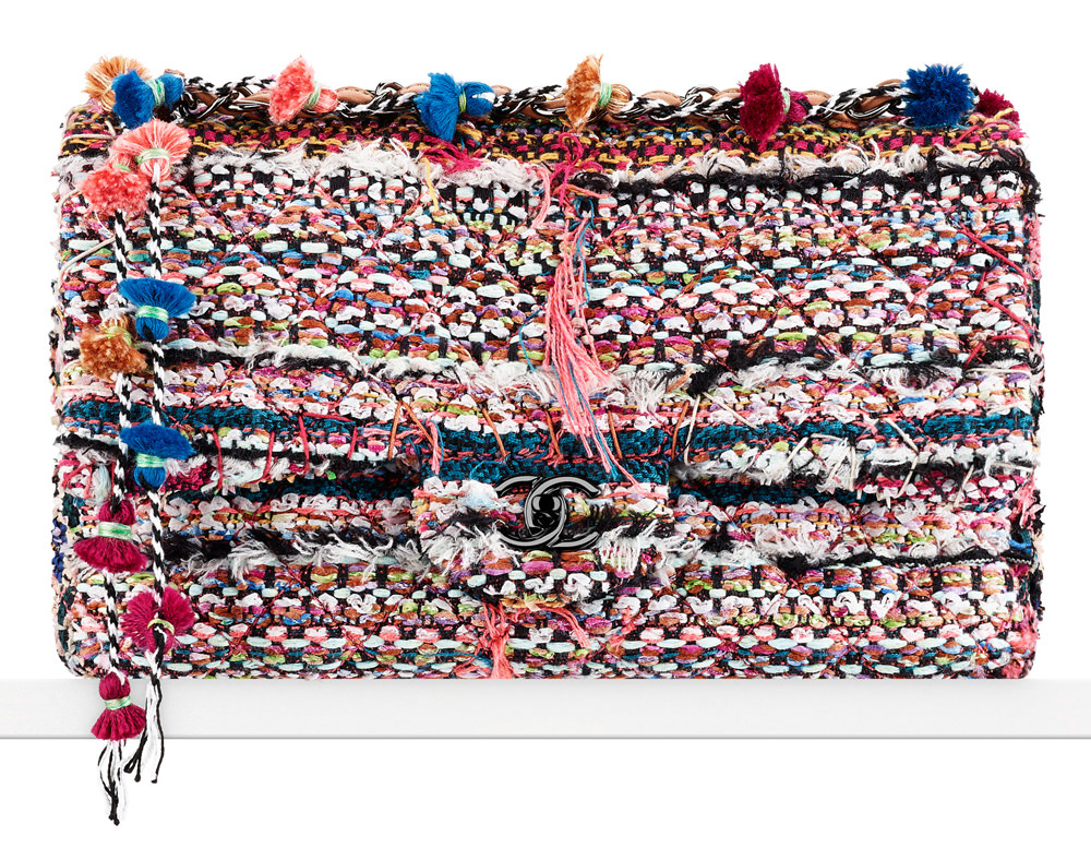 Chanel Tweed Flap Bag with Pom Poms