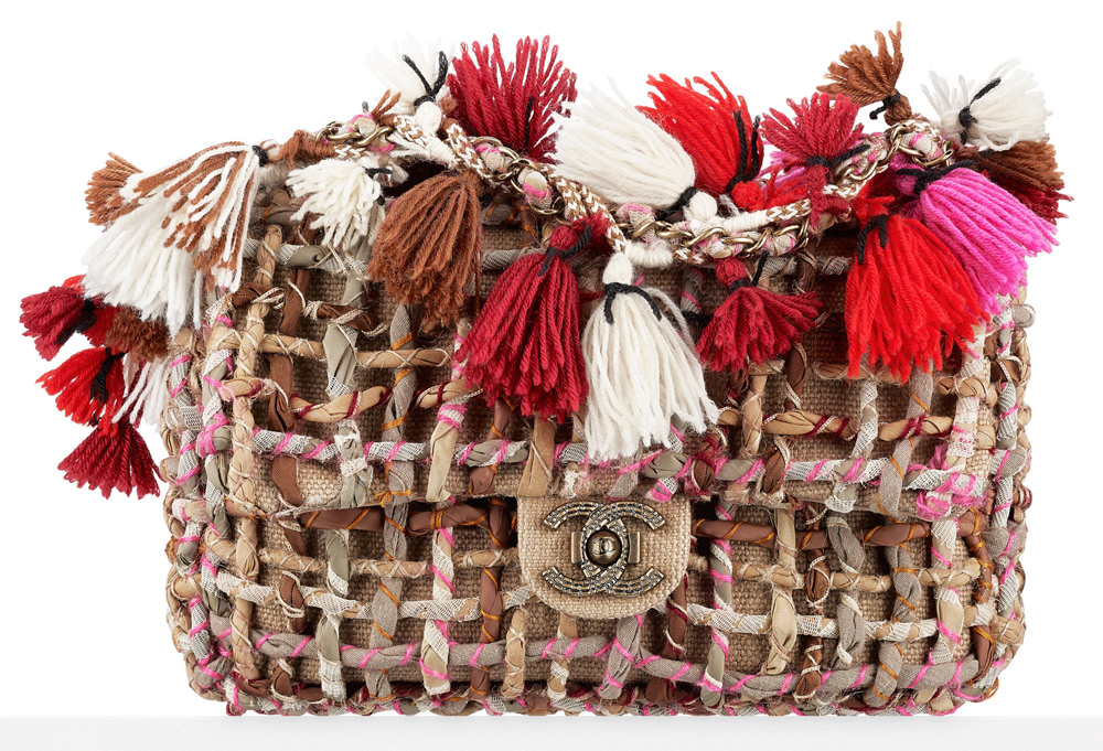 Chanel Twisted Woven Flap Bag with Pom Poms