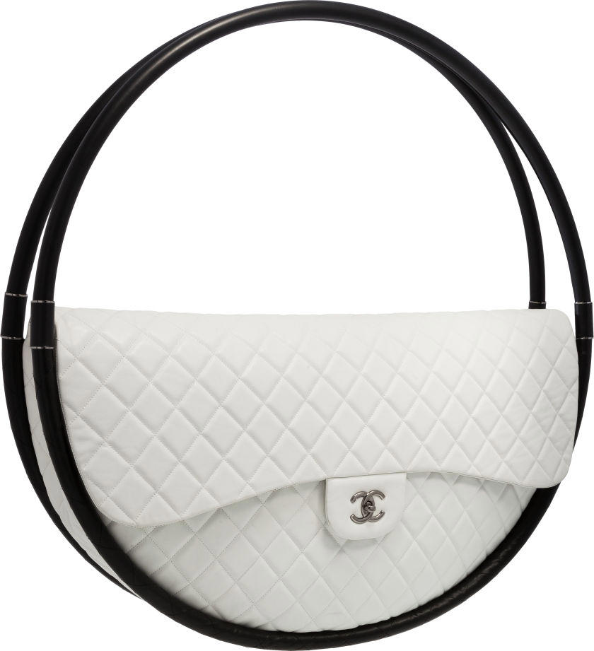 Chanel White Quilted Lambskin Leather Full-Size Hula Hoop Bag