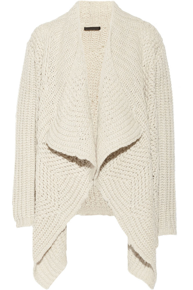Donna Karan Draped Alpaca-Blend Cardigan