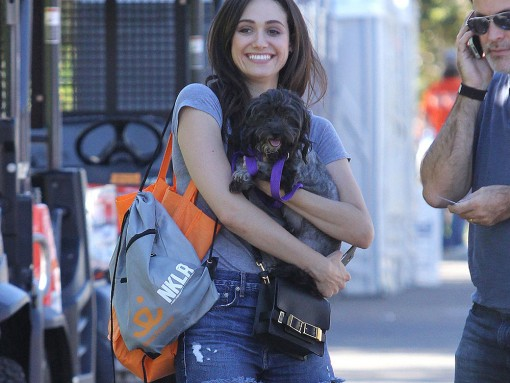 Emmy Rossum Adopts a New Dog with an A.L.C. Bag at Her Side