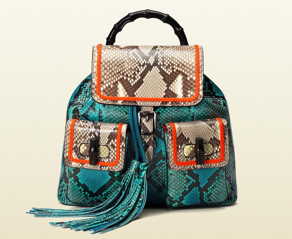 Gucci Bamboo Python Backpack