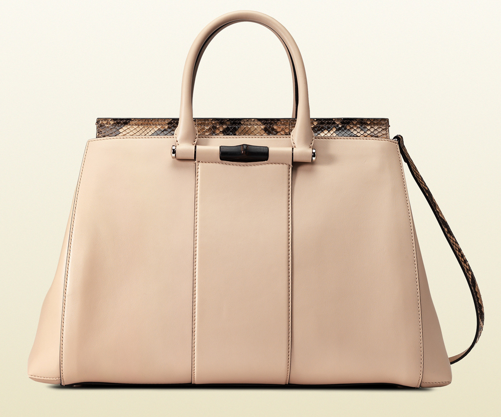 Gucci Lady Bamboo Leather and Python Top Handle Bag
