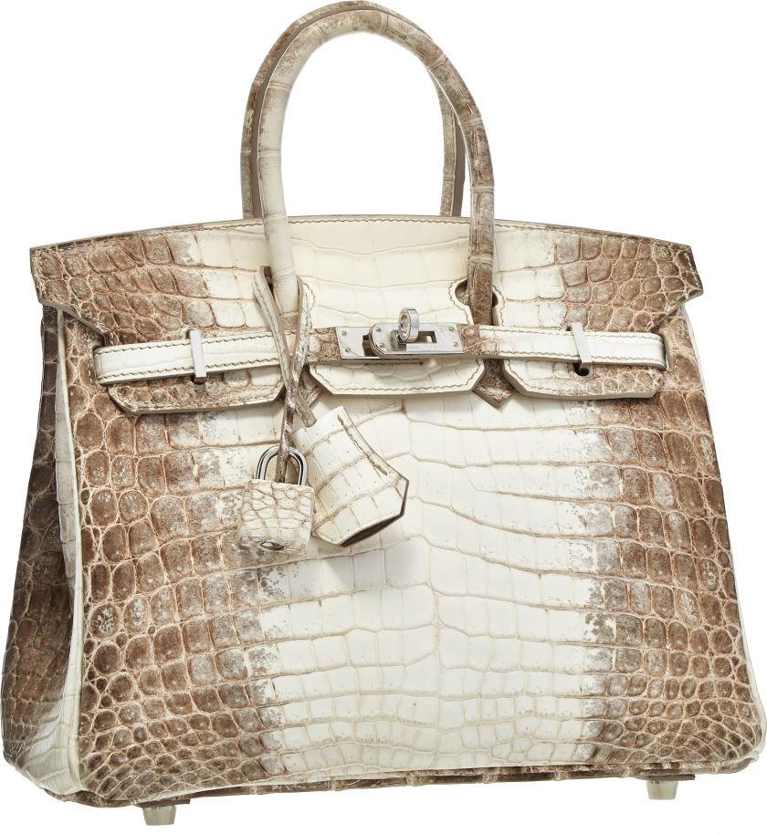 Hermes 25cm Matte White Himalayan Nilo Crocodile Birkin Bag