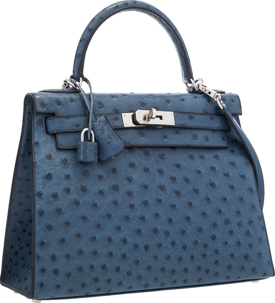 Hermes 28cm Blue Roi Ostrich Sellier Kelly Bag