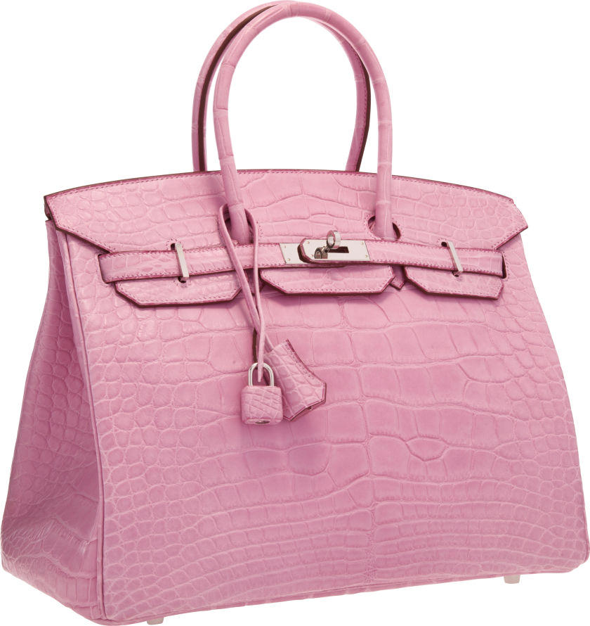 Hermes 35cm Matte Pink 5P Alligator Birkin Bag
