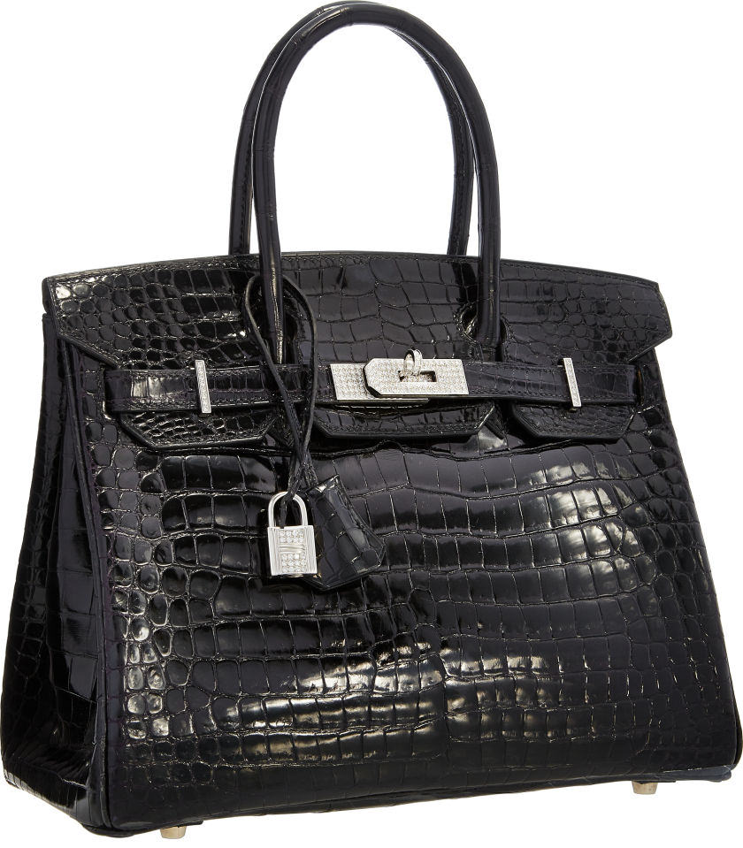 Hermes Extraordinary Collection 30cm Diamond, Shiny Black Porosus Crocodile Birkin Bag