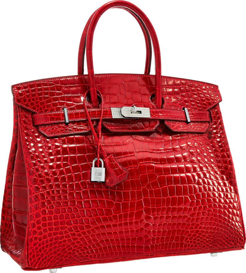 Hermes Extraordinary Collection 35cm Diamond, Shiny Braise Porosus Crocodile Birkin Bag
