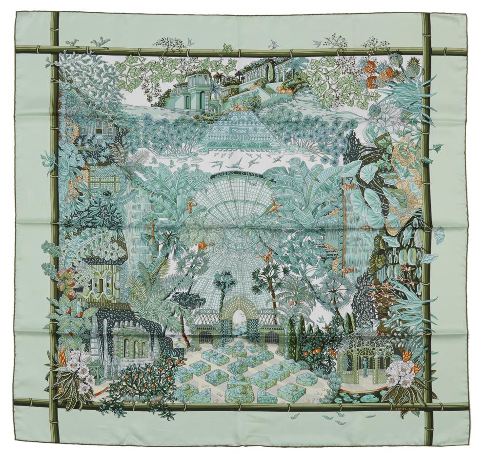 Hermes Jardin d'Hiver Silk Scarf