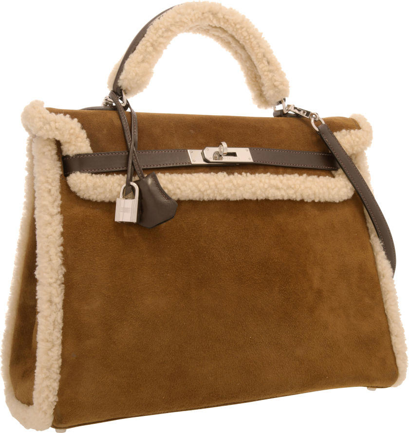Hermes Limited Edition 35cm Veau Doblis Suede & Mouton Shearling Kelly Bag