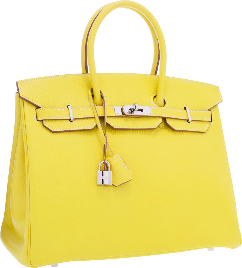 Hermes Limited Edition Candy Collection 35cm Lime & Gris Perle Epsom Leather Birkin Bag