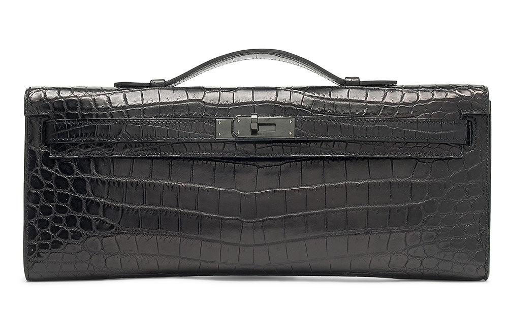 Hermes Limited Edition So Black Crocodile Kelly Cut Clutch