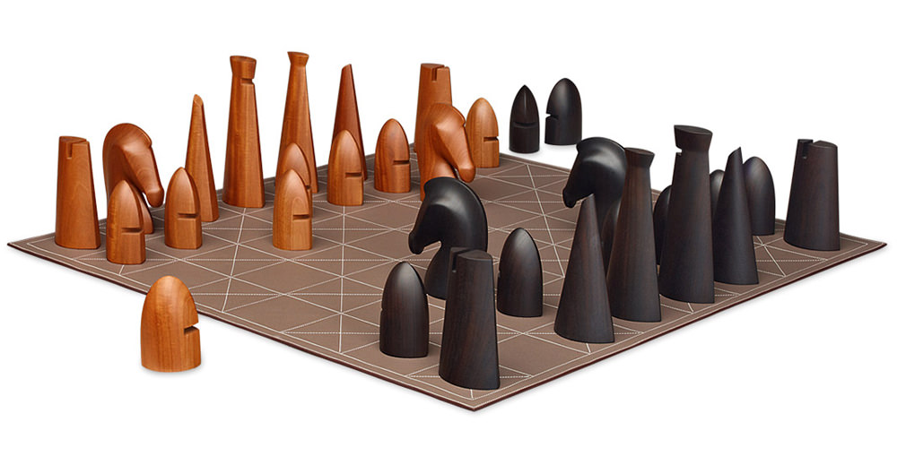 Hermes Samarcande Wood and Leather Chess Set