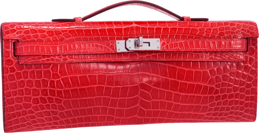 Hermes Shiny Bougainvillea Porosus Crocodile Kelly Cut Clutch Bag