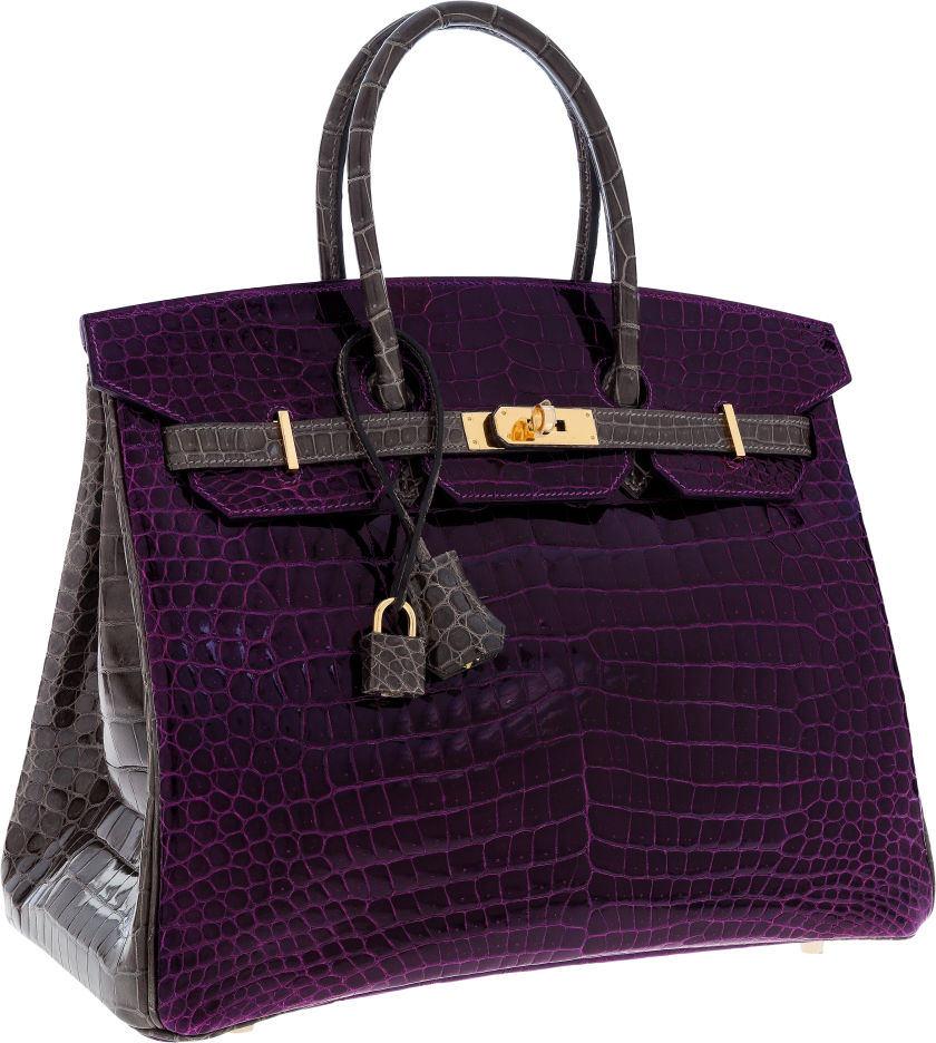 Hermes Special Order Horseshoe 35cm Shiny Amethyst & Graphite Porosus Crocodile Birkin Bag