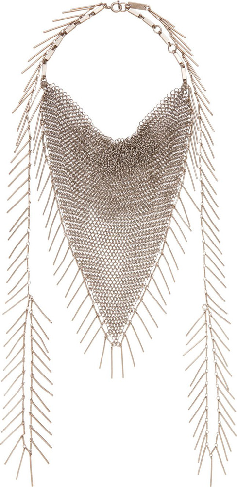 Isabel Marant Silver Fringed Chainmail Necklace
