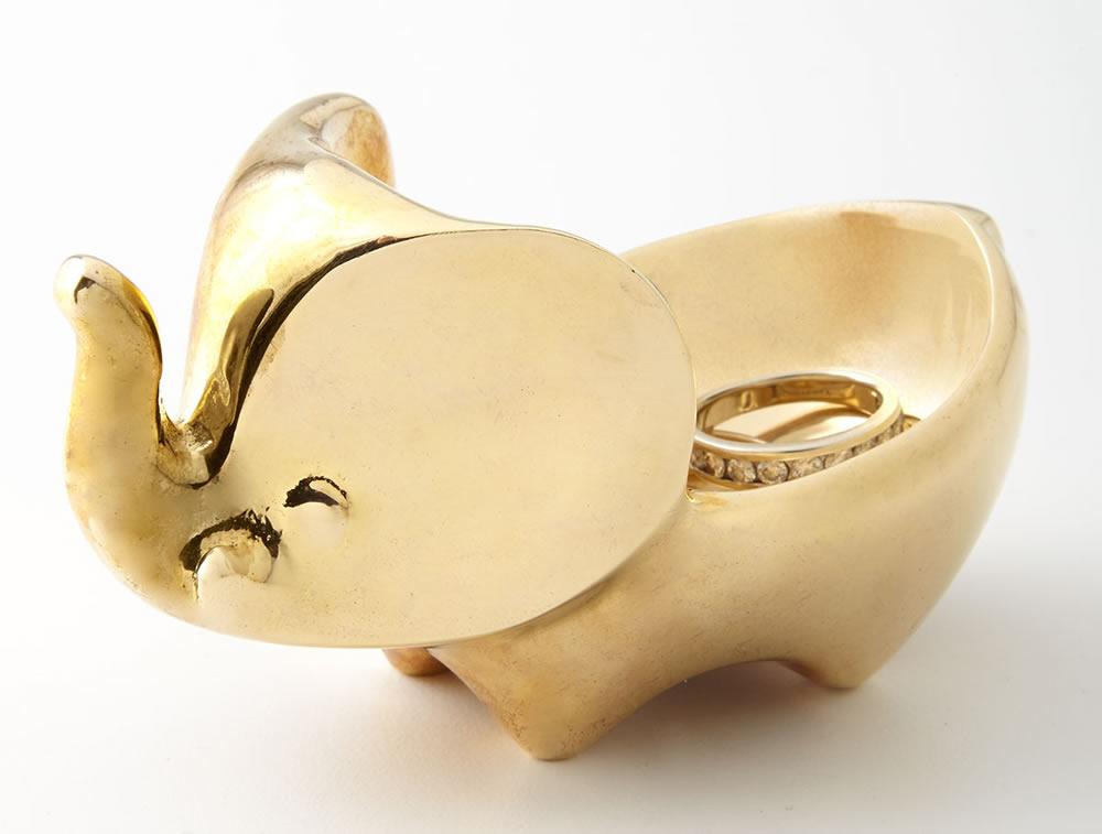 Jonathan Adler Brass Elephant Ring Bowl